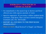 emergency procedure in chemical injury