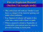 fire or explosion hazard section 5 in sample msds