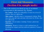 first aid measures section 4 in sample msds