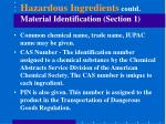 hazardous ingredients contd material identification section 1