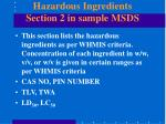 hazardous ingredients section 2 in sample msds