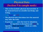 physical data section 9 in sample msds
