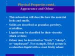 physical properties contd appearance and odour