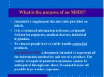what is the purpose of an msds