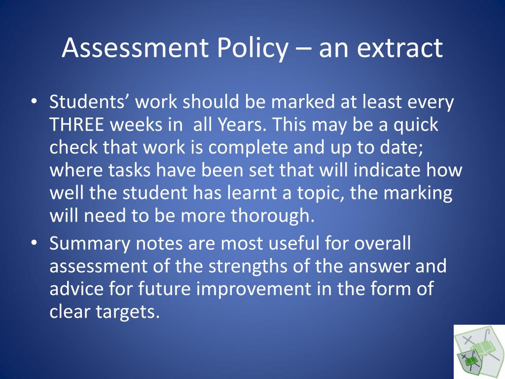 Assessment Policy – an extract
