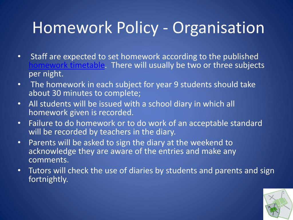 Homework Policy - Organisation