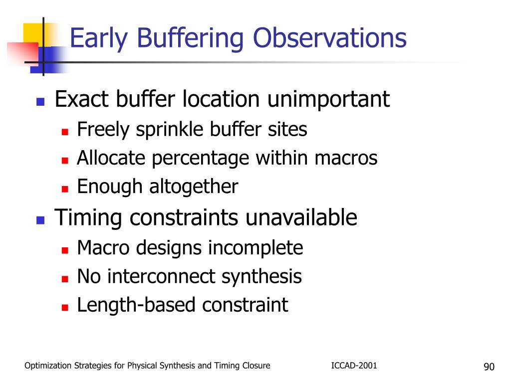 Early Buffering Observations