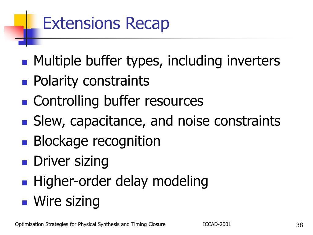 Extensions Recap