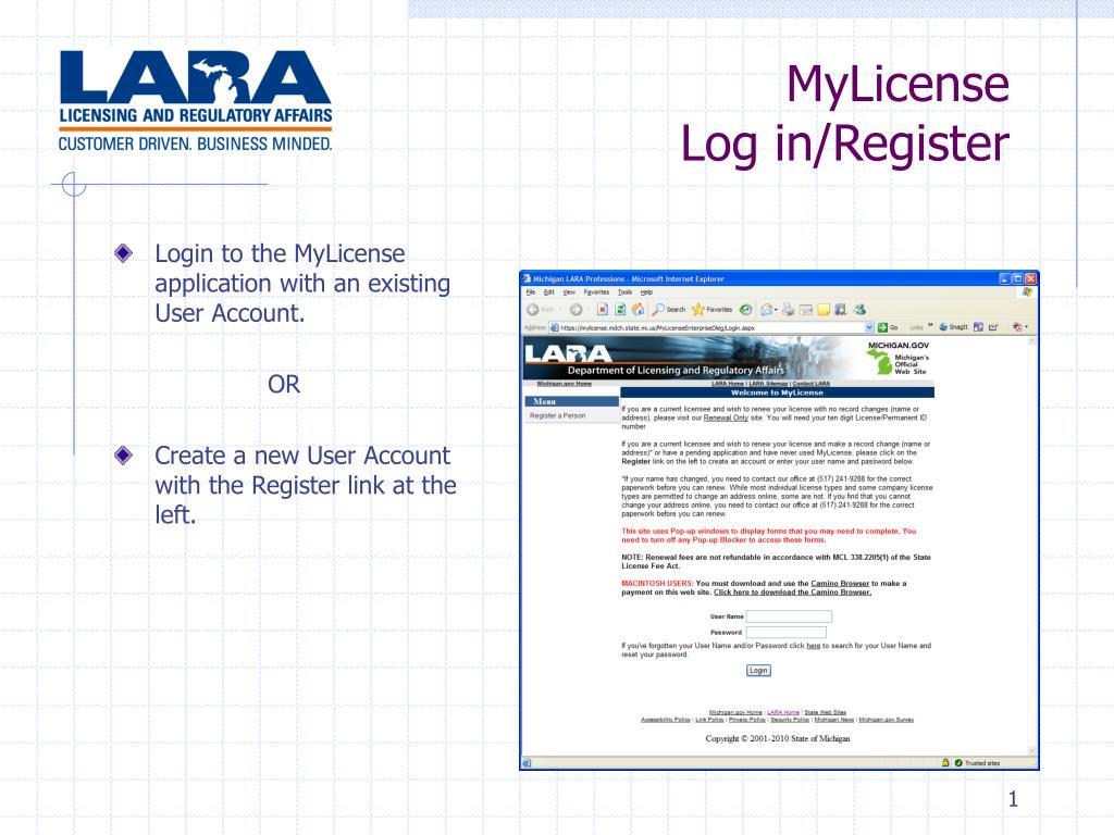 mylicense log in register l.