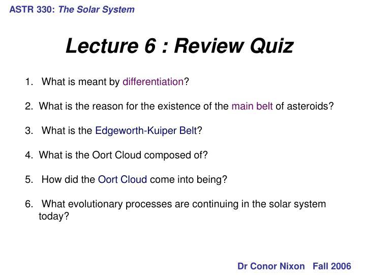 Astr 330 the solar system