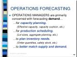 operations forecasting