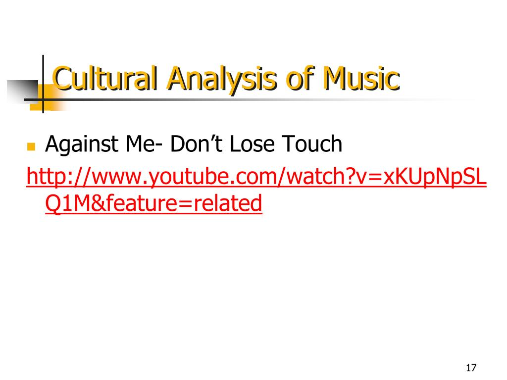 Cultural Analysis of Music