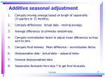 additive seasonal adjustment