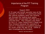 importance of the pit training program5