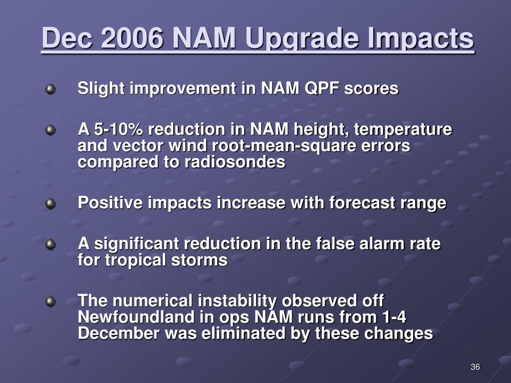 Dec 2006 NAM Upgrade Impacts