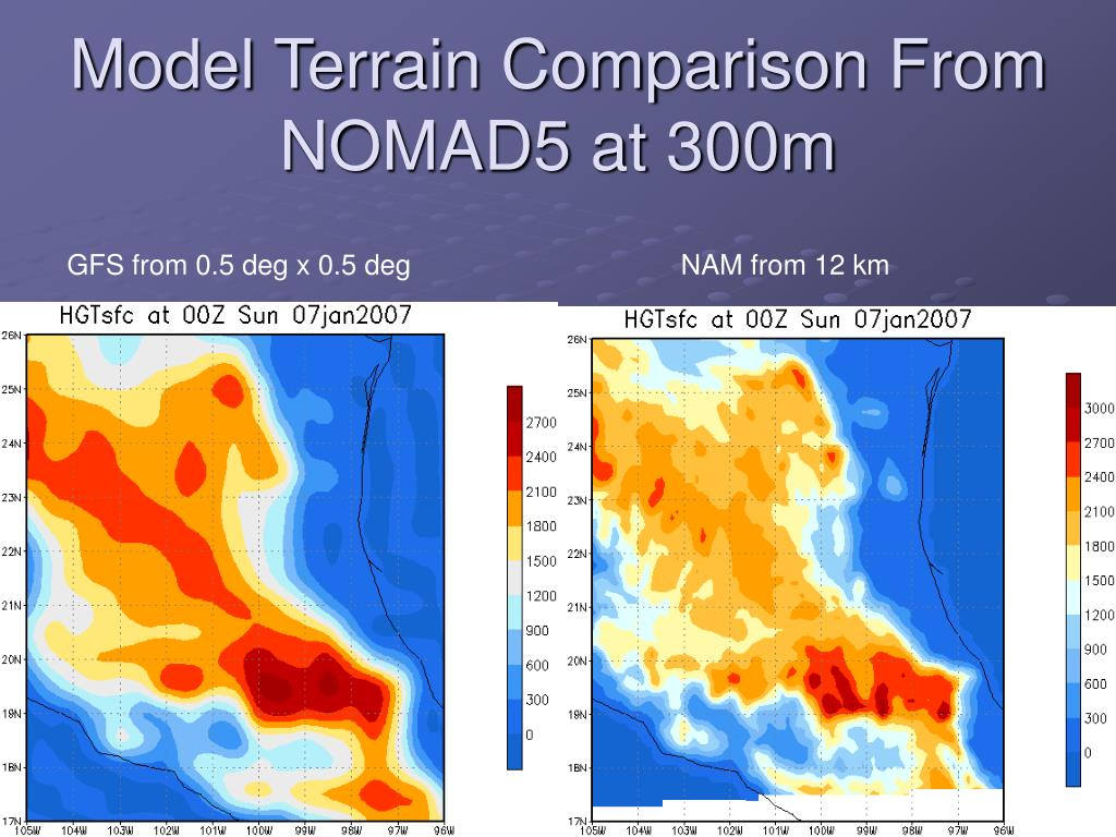 Model Terrain Comparison From NOMAD5 at 300m