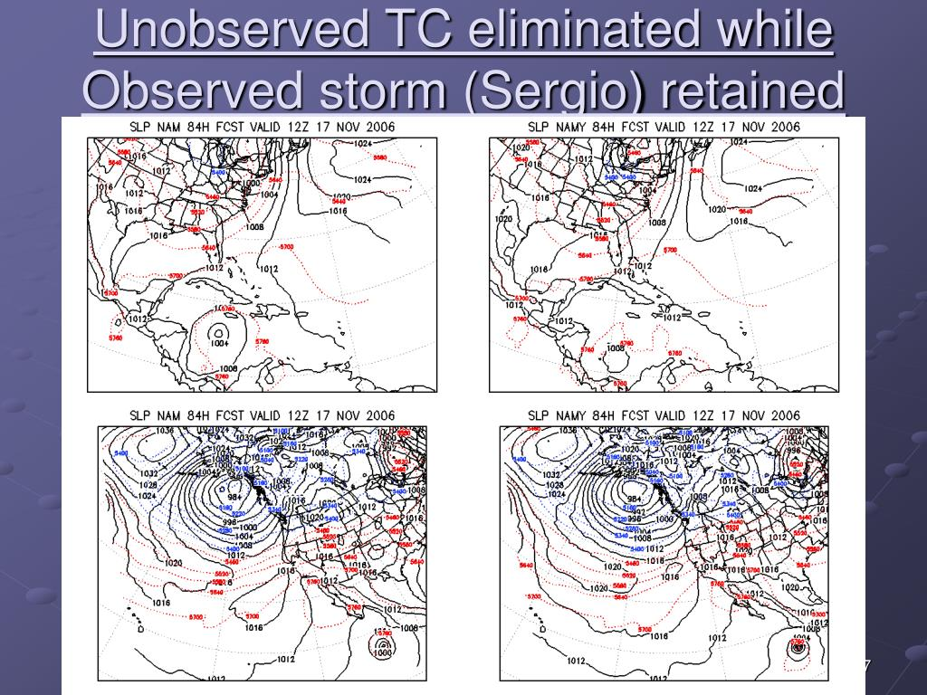 Unobserved TC eliminated while Observed storm (Sergio) retained