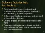 software factories help architects to