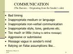 communication the barriers originating from the sender s side
