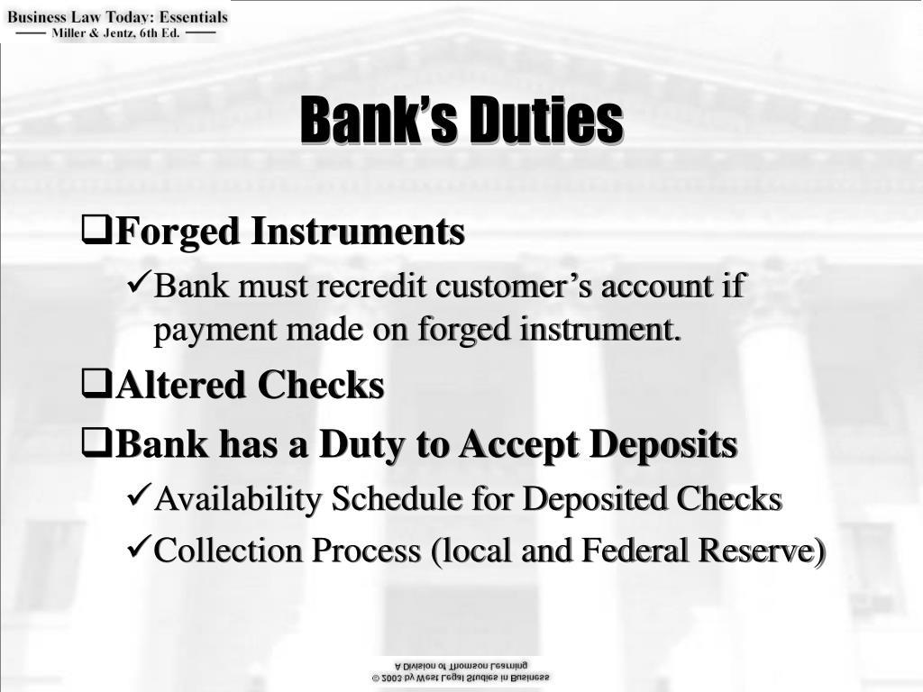 Bank's Duties