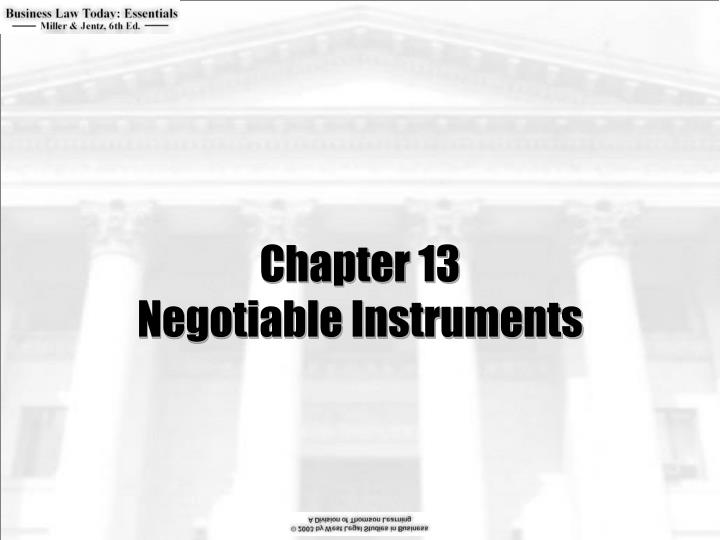 Chapter 13 negotiable instruments