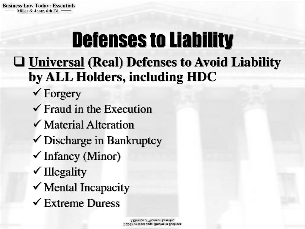 Defenses to Liability
