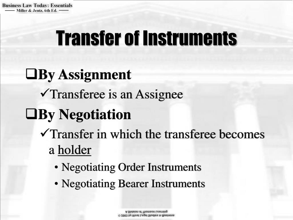Transfer of Instruments