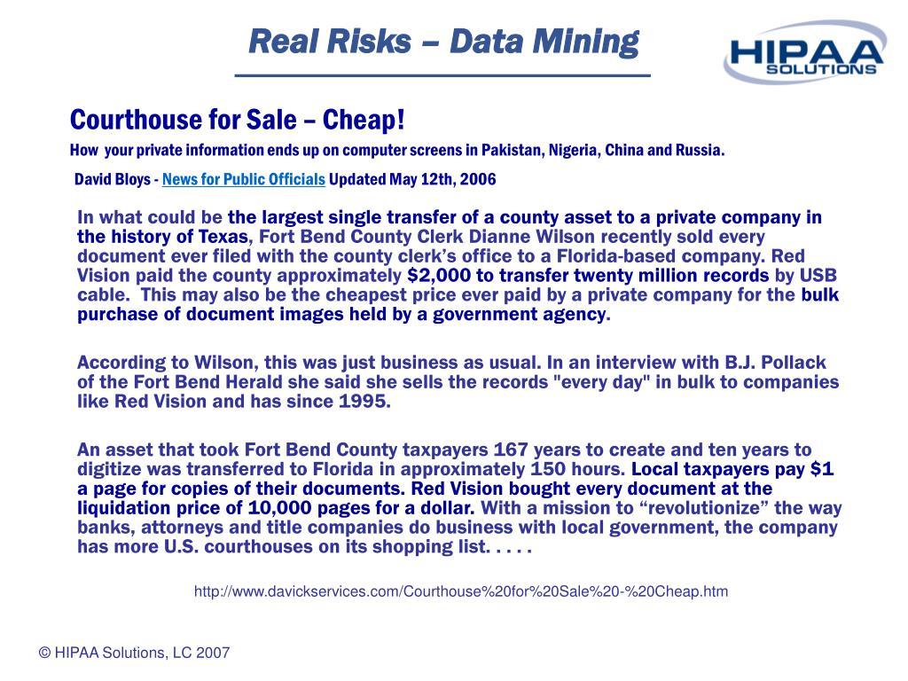 Real Risks – Data Mining