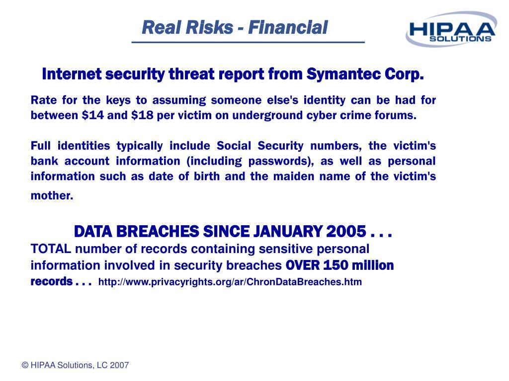 Real Risks - Financial