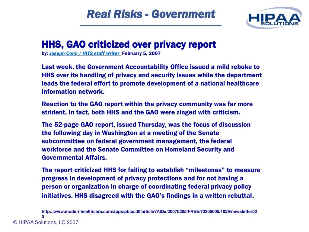 Real Risks - Government