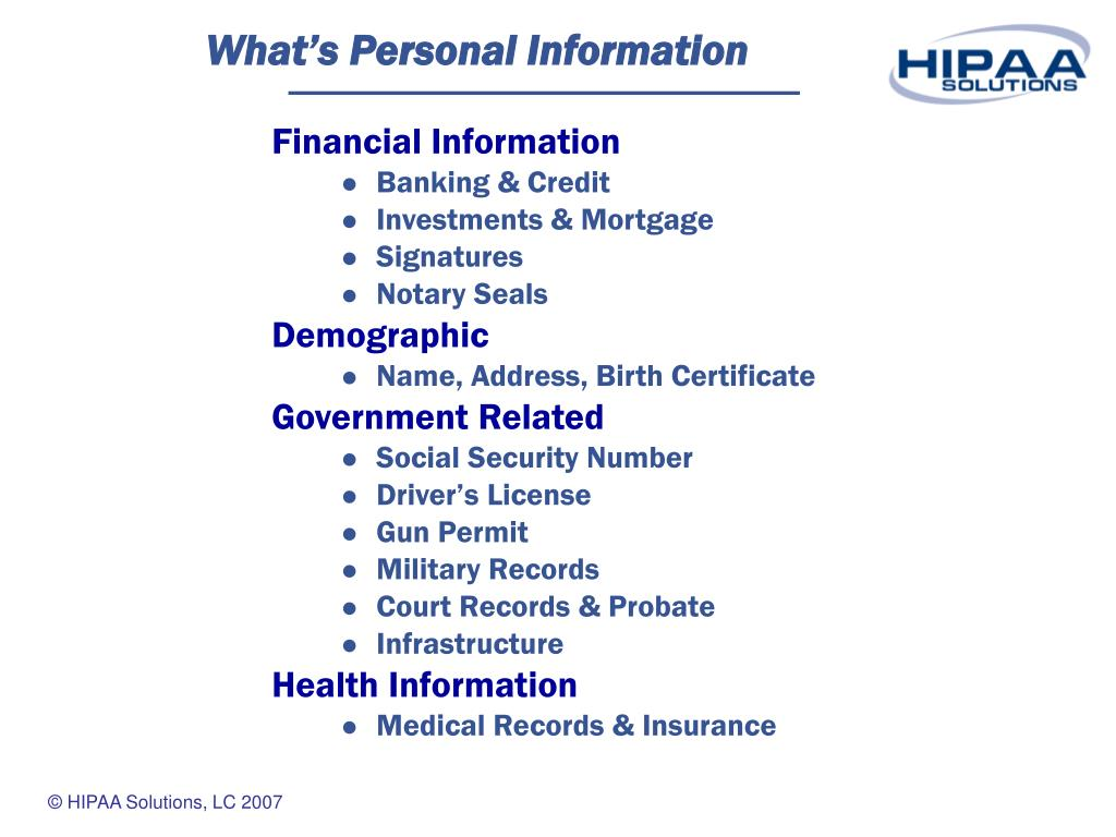 What's Personal Information