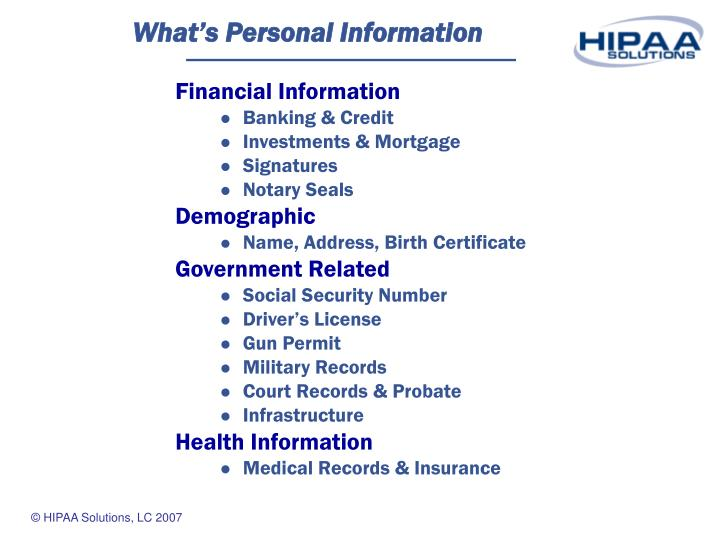 What s personal information