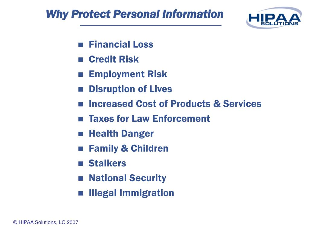 Why Protect Personal Information