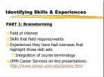 identifying skills experiences