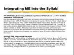 integrating me into the syllabi