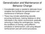generalization and maintenance of behavior change