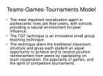 teams games tournaments model