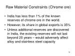 raw material constraints chrome ore