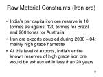 raw material constraints iron ore