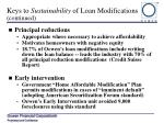 keys to sustainability of loan modifications continued
