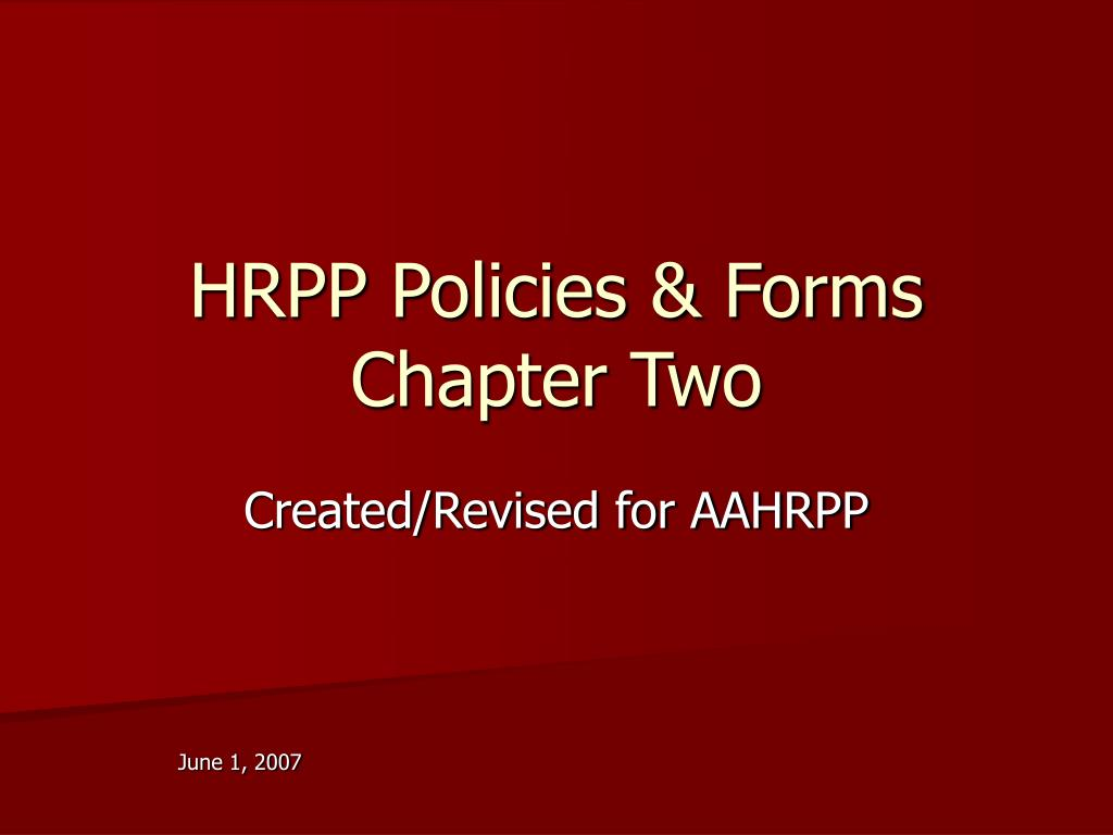hrpp policies forms chapter two l.