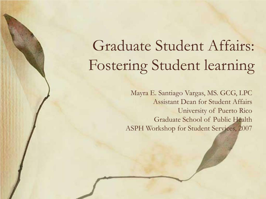 graduate student affairs fostering student learning l.