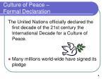 culture of peace formal declaration