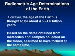 radiometric age determinations of the earth