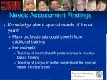 needs assessment findings49