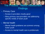 the process needs assessment findings