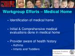 workgroup efforts medical home