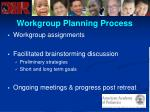workgroup planning process