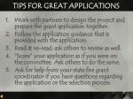 tips for great applications