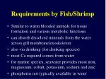 requirements by fish shrimp